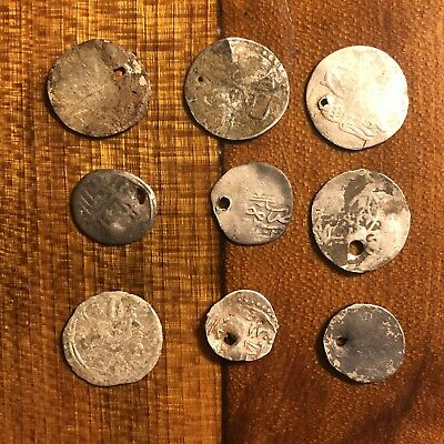 9 Medieval Coins Silver Tokens Authentic Ancient Ottoman Empire Middle Eastern