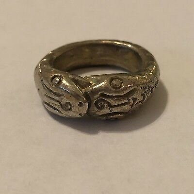 Old Antique Ancient? Brass Ring Snakes Roman? Middle Eastern? Artifact Medieval?