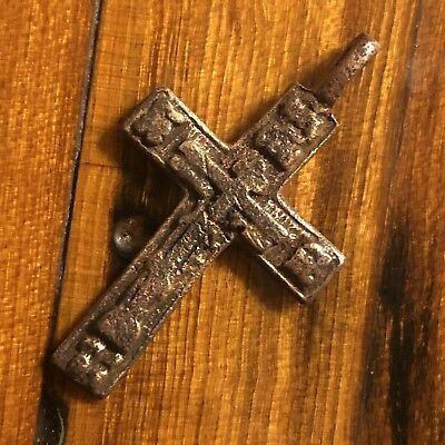 1600s Copper Cross Pendant Catholic Christian Jesus Medieval Style Writing Old 1