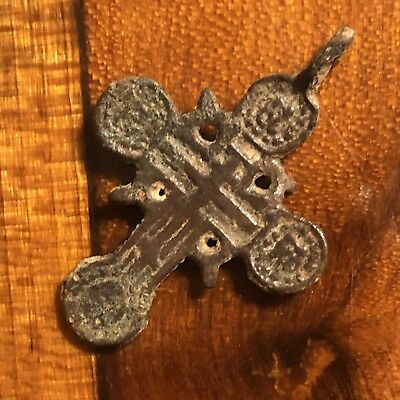 1700's Copper Cross Pendant Catholic Christian Jesus Medieval Style Writing Old