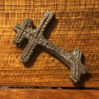 1600s Copper Cross Pendant Catholic Christian Jesus Medieval Style Writing Old 6