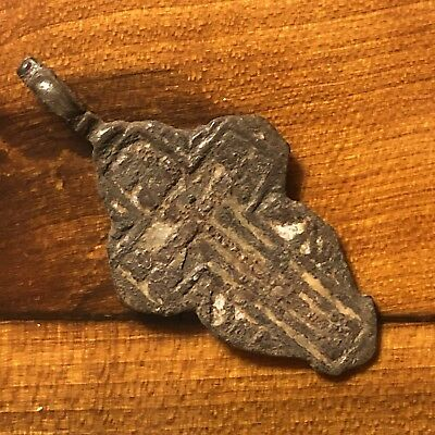 1600s Copper Cross Pendant Catholic Christian Jesus Medieval Style Writing Old 4