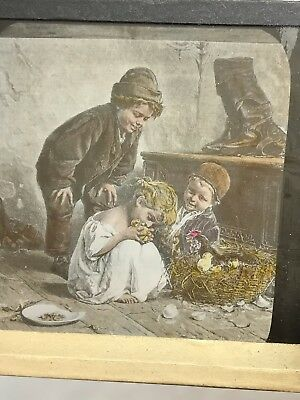 Antique Glass Slide Of Young Girl And Brothers Eating/kissing Live Chick