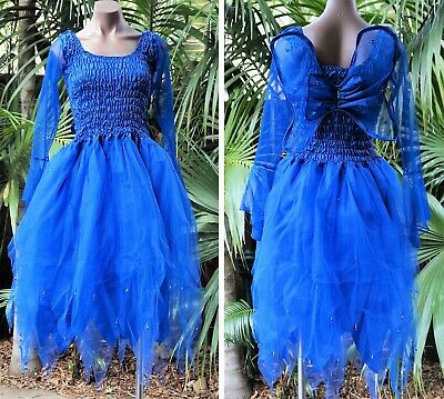PLUS SIZE Fairy Dress Costume with Sleeves & Wings - MEDIEVAL ROYAL BLUE