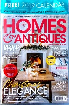 Homes & Antiques Magazine Issue January 2019 ~ Sealed With Free 2019 Calendar ~