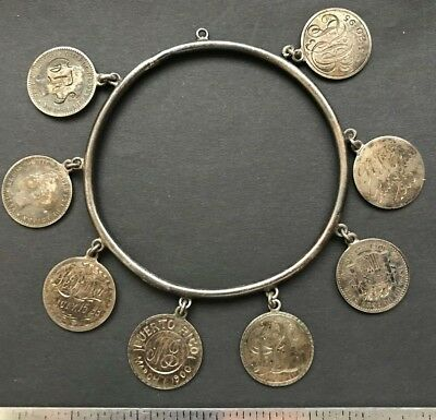 Puerto Rico Spain 1896 10 centavos 8 coins beautifully engraved silv. bracelet