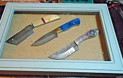 Knife Lot(3) Damascus Knives In Knife Case All Brand New With Leather Sheaths