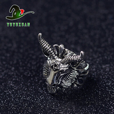 Tibetan Silver Ring Carving Cattle Head J2145 A