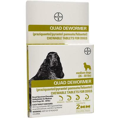 Bayer Expert Care Quad Dewormer Chewable 2 Tablets For Medium Dogs - Exp 2019