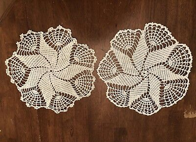 """Crochet Doily Table Scarf Off White Cream 12"""" Round Lot Of 2 Vintage"""
