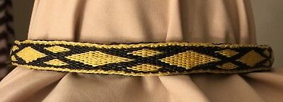 New Hitched Horse Hair Hat Band Prison Made USA Yellow and Black