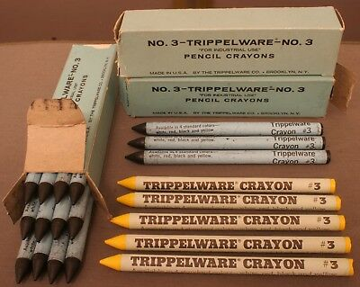 Lot Of 20 Unused Vintage Industrial Pencil Crayons by Trippelware Made In U.S.A.