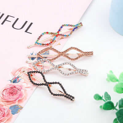 Women Girl Rhinestone Diamond Shaped Hair Clip U-shaped Hairpin Hair Accessories