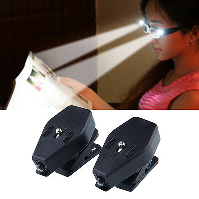 2Pcs Portable Clip On Safety Reading Eye Glasses LED Light Computer Torch Lamp