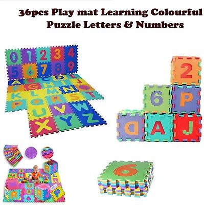 36pcs Kids Foam Floor Play Mat Eva Soft Letters Number Learning Puzzle Colourful