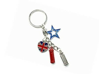 London Charms Keyring British Souvenir Union Jack Flag Keychain Metal Die Cast