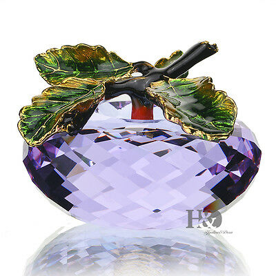 Clear Purple Crystal Apple Paperweight Facted Arts Ornament Decor in Gift Box