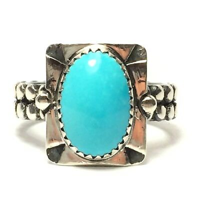 42 Ct Tw Natural Untreated Sleeping Beauty Turquoise Sterling Silver Ring 🇺🇸