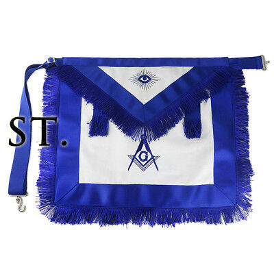 Masonic Blue Lodge Master Cotton Fabric Tassels Apron Hand Embroidered Details