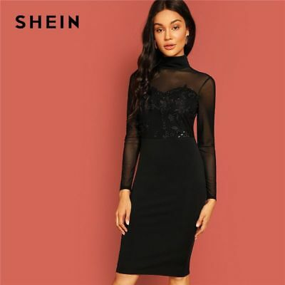 4c36831bf98c3 Black Elegant Pencil Dress Embroidered Mesh Women Long Sleeve New Autumn  Casual