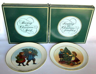 Avon 1981 & 1982 Collectible Christmas Memories Plate Set in Box 22k Gold Trim