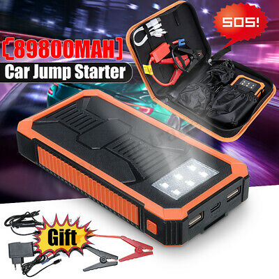 89800mAh LCD Car Jump Starter Emergency Battery Booster 6 LED Torch Dual