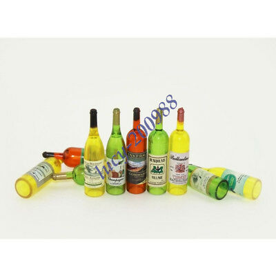 Wine Whisky Beer Bottles Dolls House Miniature Pub Bar Accessory 1:12 Scale 8pcs