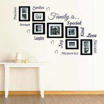 Family Quote Picture Photo Frames Wall Stickers Living Room Home Decor Removable
