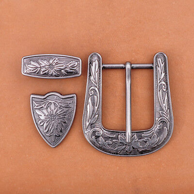 Large Men's Vintage Silver Floral Western Cowboy Belt Buckle Set Fits 35mm Strap