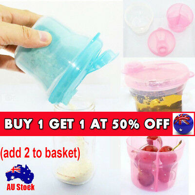 3 Dose Milk Powder Dispenser Baby Feeding Formula Storage Snack Pot Container CB