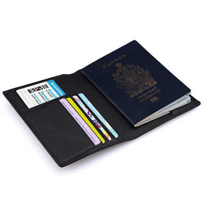 Travel Trip Secure RFID Blocking Real Leather Passport Holder Cards Case Wallet