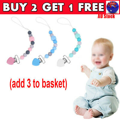 Silicone Clips Pacifier Teething Baby Teether Chain Clip Bead Dummy Holders CB