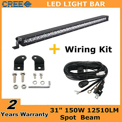 """31""""Inch 150W Single Row Led Light Bar Slim Lamp Combo Driving Ford + Wires 30/32"""