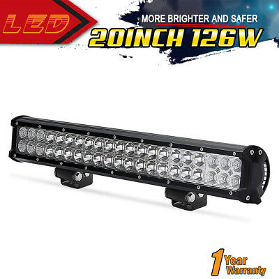Dual Row 126W 20INCH Led Light Bar Flood Spot Combo Offroad 4x4WD Truck For JEEP