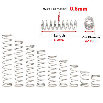 Compression Small Spring 0.6mm Wire Dia 304 Stainless Steel Pressure 5mm-50mm L