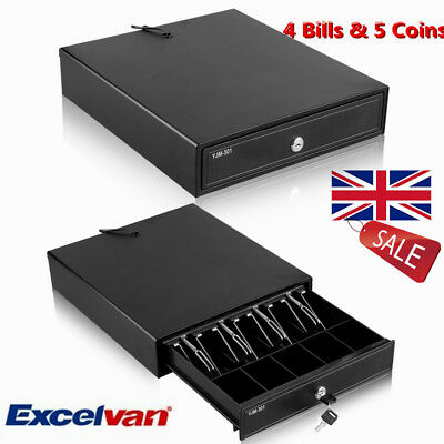 12V Heavy Duty POS Cash Till Drawer Register With 4Bills 5Coins Tray Removable