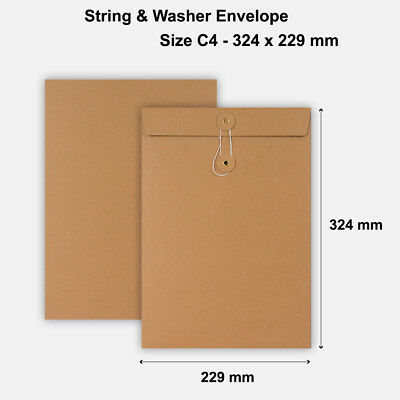 C4 Size Quality String&Washer Without Gusset Envelope Button Tie Manilla