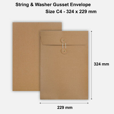 C4 Size Quality String&Washer With Gusset Envelope Button Tie Manilla