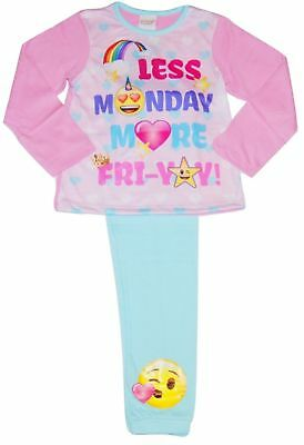 """BRAND NEW GIRLS OFFICIAL EMOJI 'More Monday.."""" PYJAMAS AGES 6-7 up to 12-13"""