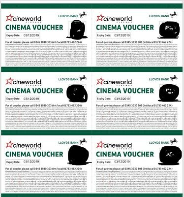 6 x Cineworld Cinema Tickets