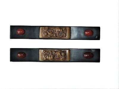 a pair of antique Chinese paper weight (镇纸) inset with stones & decorated beasts