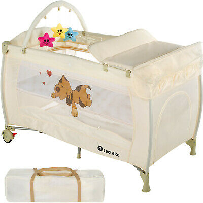 New Portable Child Baby Travel Cot Bed Playpen with Entryway Beige
