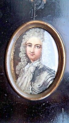 ANTIQUE c1900 MINIATURE PORTRAIT GEORGIAN c1720 GENTLEMAN