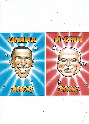 Americian Presidential Eclection  2008  2 Postcards By Artist Rick Geary