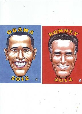 Americian Presidential Eclection  2012  2 Postcards By Artist Rick Geary