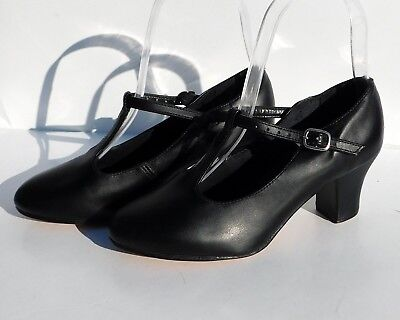 So Danca CH 40 T-Strap All Leather Black Dance Character Shoes, Size: 4.5 M EGUC