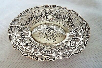 ANTIQUE c1920+ ART NOUVEAU SOLID SILVER ROSE BOWL / DISH – HILDESHEIM