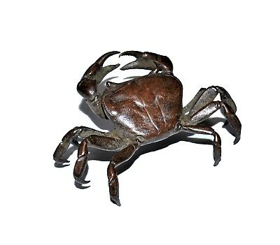 an antique Japan lovely solid bronze crab of natualistic master piece of work