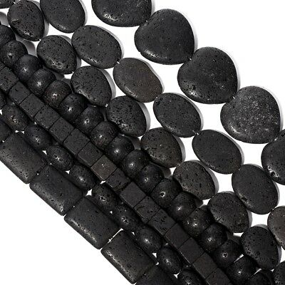 3Pcs Natural Black Lava Stone Rock Volcanic Heart Oval DIY Round Bead Bracelet