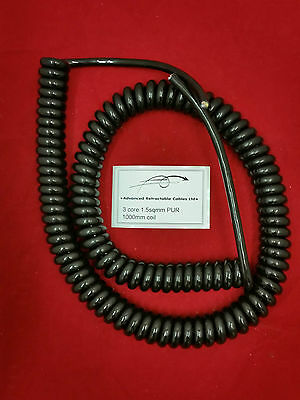 *** 3 CORE 1sqmm COILED PVC CABLE 1.5m COIL LENGTH ***